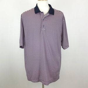 FJ Footjoy Pink Navy Blue Striped Polo Shirt